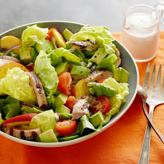 Grilled Chicken, Peach and Avocado Salad.