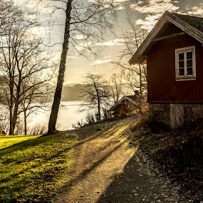 The mighty shadow by Blerim Havolli - Buildings & Architecture Homes ( porsgrunn, havolli, grass, blerim, house, leaves, norway, nature, sunset, shadow, trees, sunrise, watter,  )