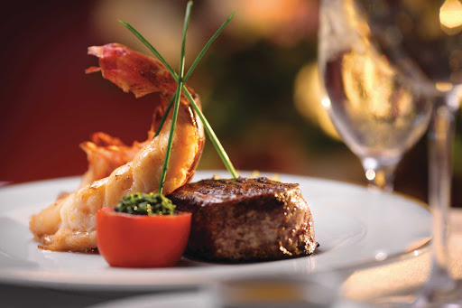 Norwegian-Cruise-Line-Surf-&-Turf - Like surf 'n' turf? Make reservations at Cagney's for a shrimp and steak entrée during your Norwegian Cruise Line voyage.