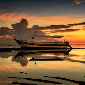 Boat at Sunrise by Ina Herliana Koswara - Transportation Boats ( water, reflection, beach, sunrise, morning, boat,  )