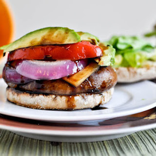 Piled Portobello Gouda Burgers with Roasted Garlic.