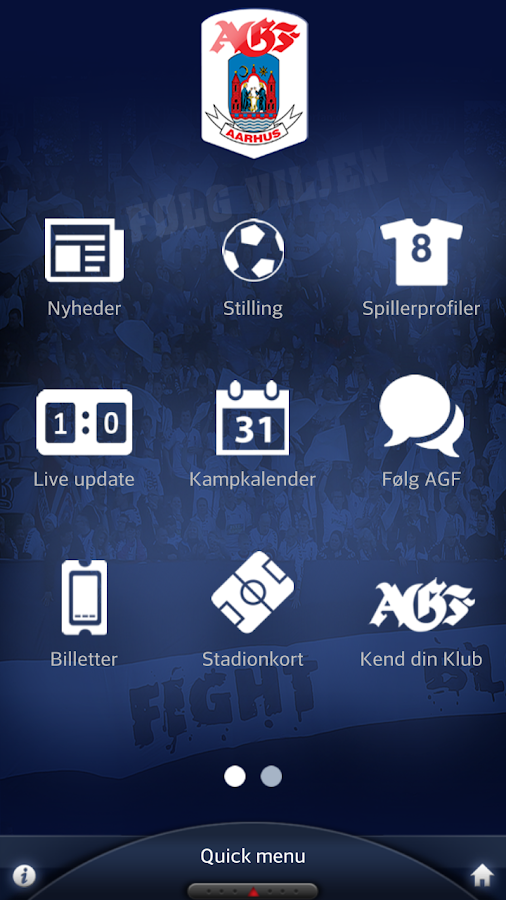 Den officielle AGF app- screenshot