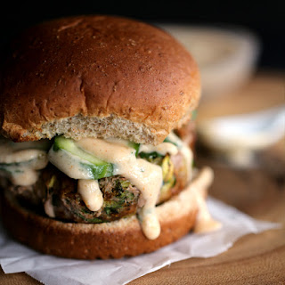 Turkey Tikka Burger with Mango Chutney Yogurt Sauce