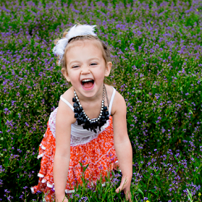 Silly by Amber Welch - Babies & Children Child Portraits ( field, child, silly, giggle, laugh, girl, purple, dress, kids, toddler, flowers )