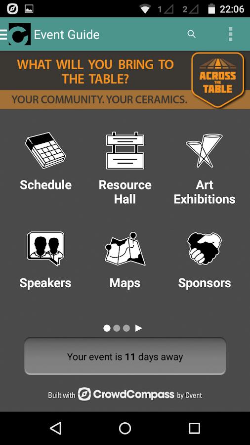 NCECA Events App- screenshot
