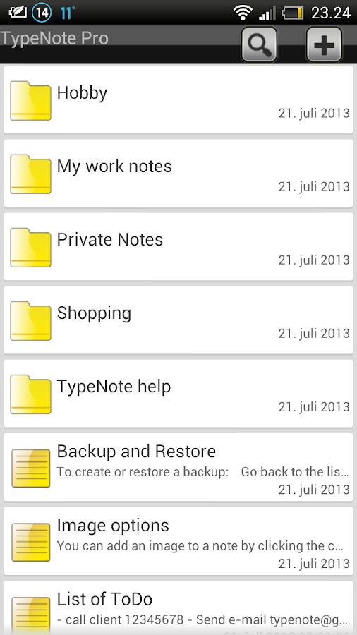 TypeNote - note / folder - screenshot