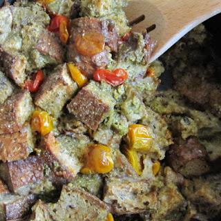 Slow Roasted Cherry Tomato and Garlic Feta Pesto Panade