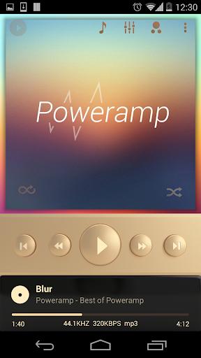 Poweramp skin Champagne Gold