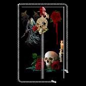 Rose Skull Zipper Screen Lock