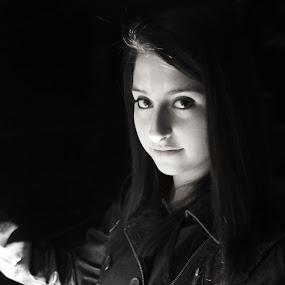 The Mystery by Maddi Stinson - Black & White Portraits & People ( woman, b&w, portrait, person )