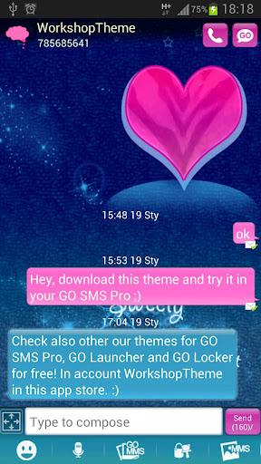 GO短信Pro的主題粉紅色藍色 GO SMS Pro The