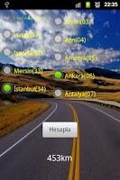 Screenshot of LBS city distance Turkey
