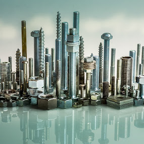 Nuts and Bolts City Skyline by Per-Ola Kämpe - Artistic Objects Industrial Objects ( skyline, screws, nuts, bolts, city, object,  )