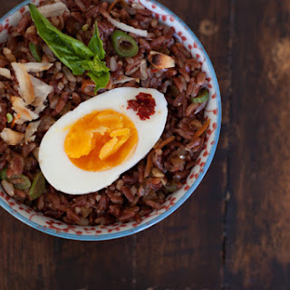 Red Rice Salad with Boiled Eggs and Macadamias Recipe