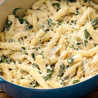 One-Pot Parmesan Chicken Ziti with Artichokes and Spinach.
