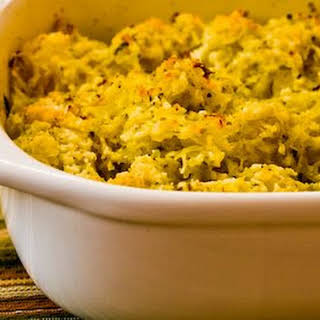 Twice-Baked Spaghetti Squash with Pesto and Parmesan.
