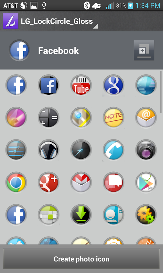 Gloss lockCircles LGHome Theme - screenshot