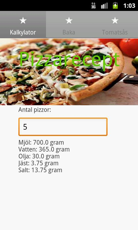 Pizzarecept- screenshot