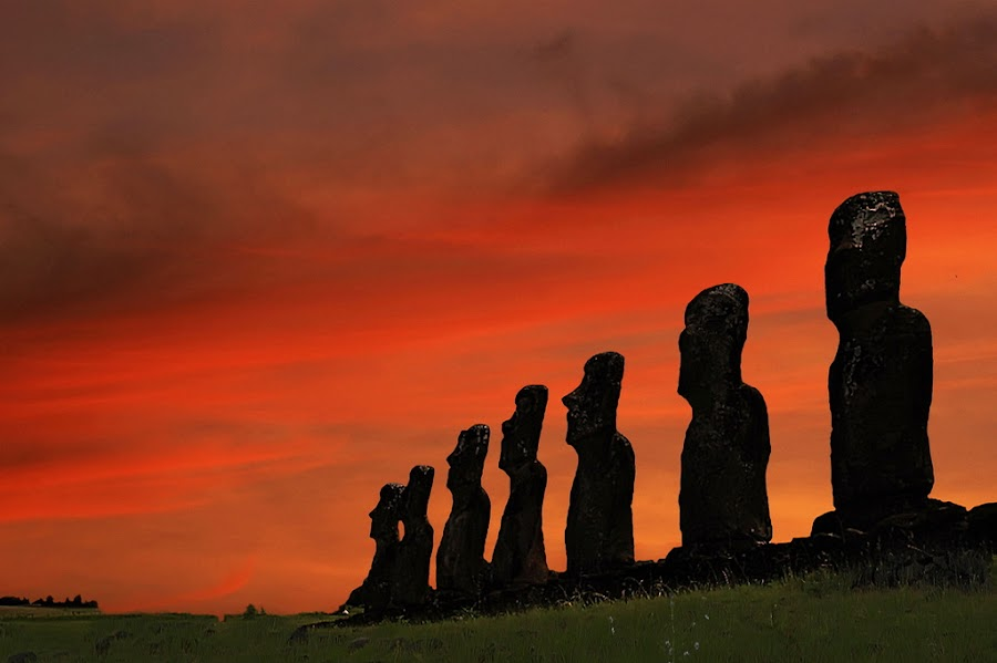 Guardians of stone by Anna Tatti - Buildings & Architecture Statues & Monuments ( easter island aku akivi moai stone sculpture silhouette sunset,  )