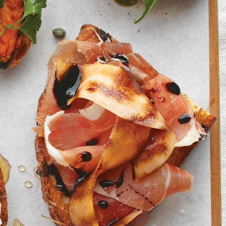 Prosciutto, Melon, and Balsamic Vinegar Bruschetta Recipe