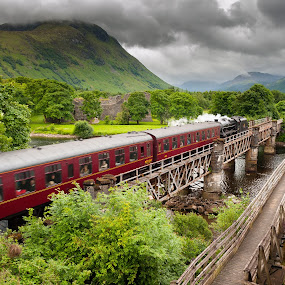 Steam train by Miroslav Havelka - Transportation Railway Tracks ( scotland, railway, train, fort, bridge, landscape, river )