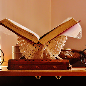 The Holy Bible by Anoop Namboothiri - Artistic Objects Still Life ( home, christian, chrismas, candles, candle stands, anoop namboothiri, sunshine, holy, table, bible, morning, worship,  )