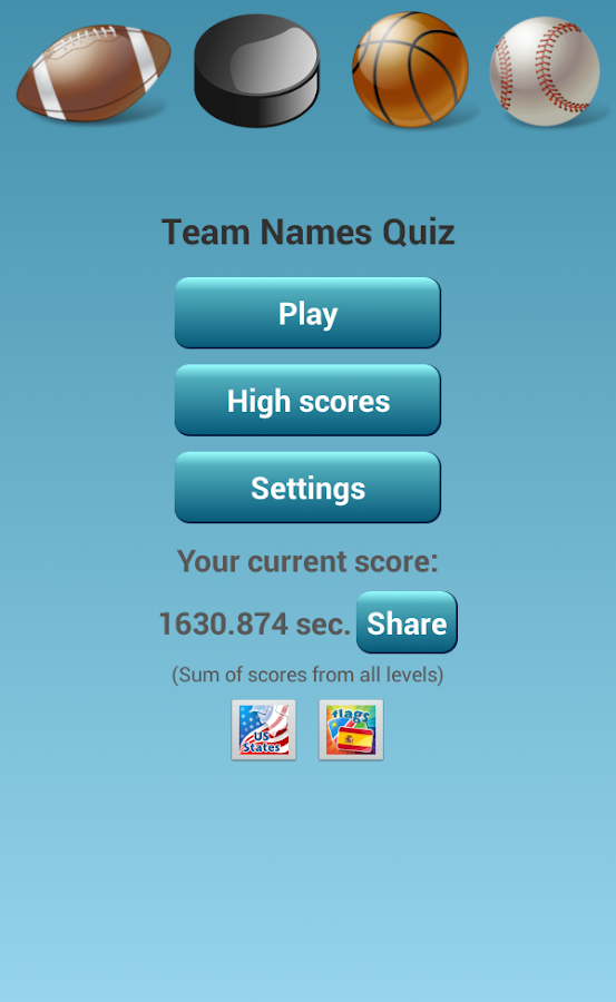 NBA NFL NHL MLB Team Name Quiz - screenshot
