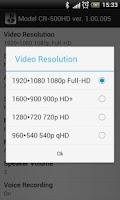 Screenshot of FineVu CR-500HD configuring