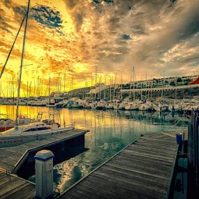 by Randall Langenhoven - Landscapes Sunsets & Sunrises ( nx300, southafrica, sunset, silhouettes, marina, westcoast, yachts )