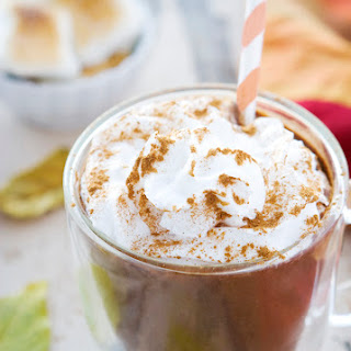 Pumpkin Hot Chocolate with Toasted Marshmalows.