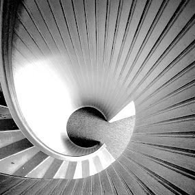 Cabrillo Staircase by Christopher Charlton - Buildings & Architecture Architectural Detail ( lighting, black and white, staircase, architecture, spiral, design )