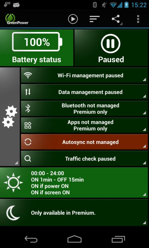 GreenPower Free Battery Saver - screenshot