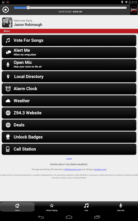 Z94.3 WZOC - screenshot