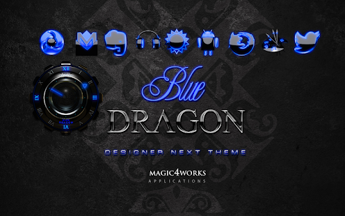 Next Launcher theme blue drago