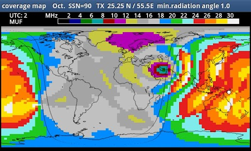 MyHF_Map HAM Radio MUF maps screenshot