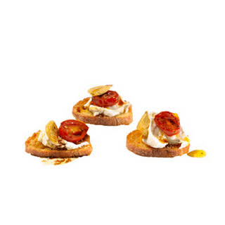 Goat Cheese and Roasted Tomato Crostini.