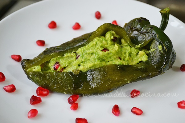 Guacamole and Pomegranate-stuffed Peppers
