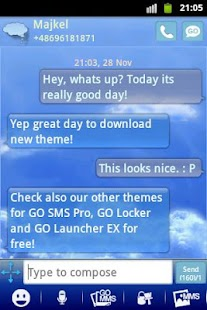 Clouds Sky Theme GO SMS- screenshot thumbnail