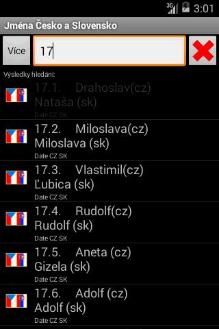 Calendar of Names Czech Slovak