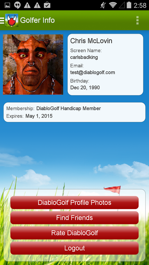 Diablo Golf Handicap Tracker- screenshot