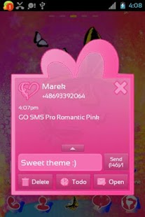 GO SMS Pro Romantic Pink - screenshot thumbnail