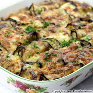 Mushroom Stuffed Eggplant Gratin