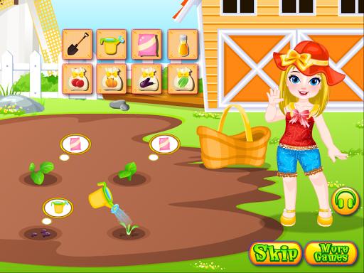 女孩的農場遊戲的女孩