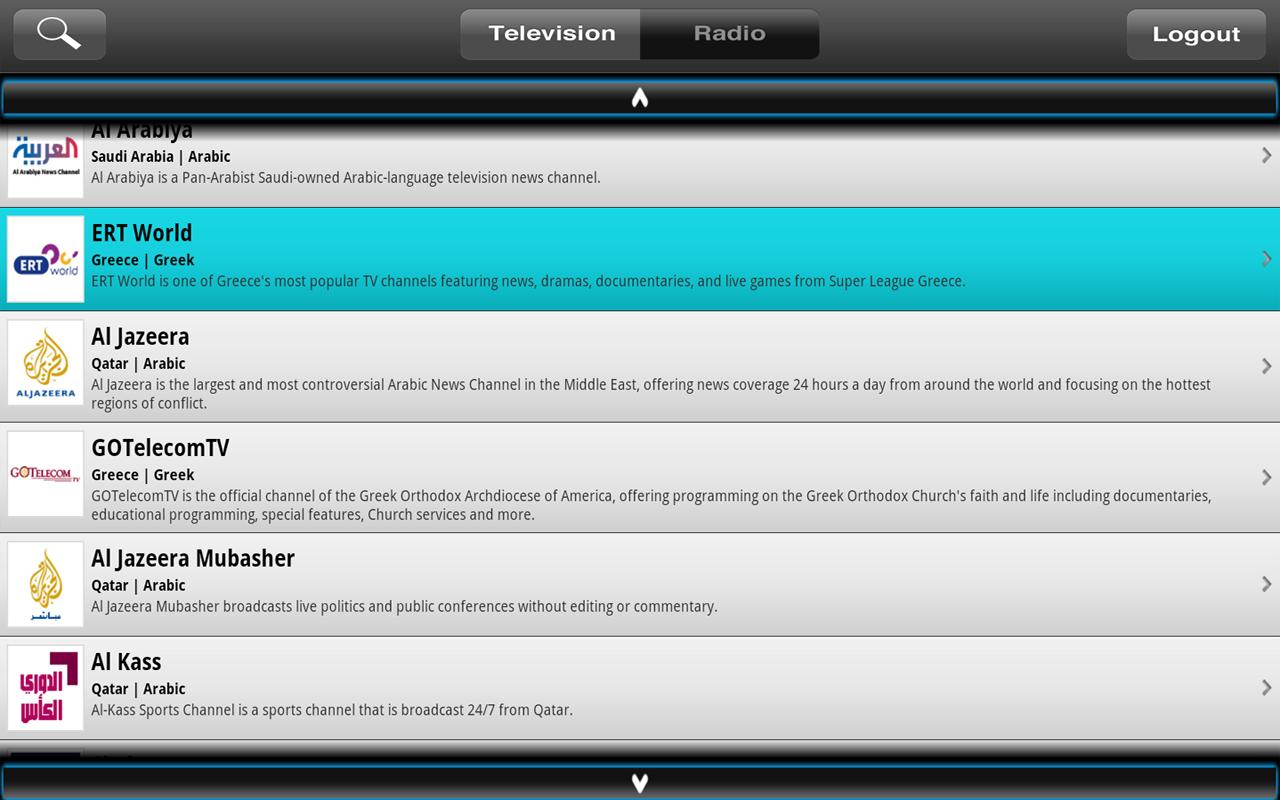 WhereverTV for GoogleTV - screenshot