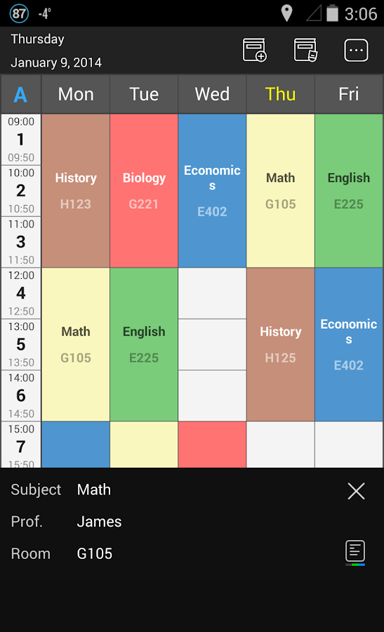 Handy Timetable - screenshot