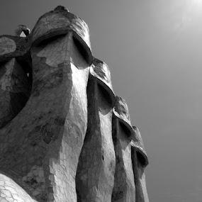 Casa Batllo Chimney's by Rich Eginton - Buildings & Architecture Architectural Detail ( roof, b&w, gaudi, barcelona, spain,  )