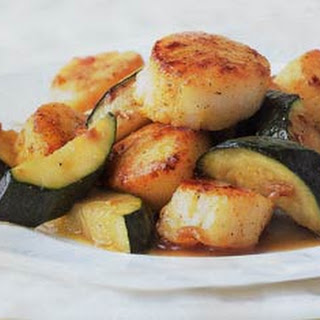 Seared Curried Scallops with Zucchini.