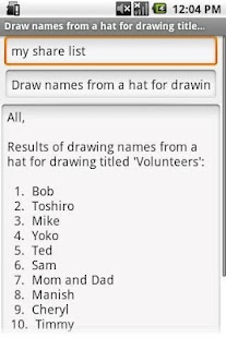 Draw Names From A Hat - screenshot thumbnail