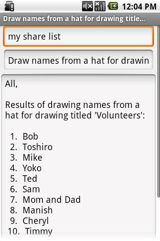 Draw Names From A Hat - screenshot