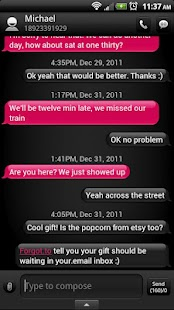 Rose Dark Phone GO SMS Theme - screenshot thumbnail
